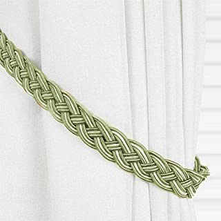 EleCharm 1 Pair Simplicity Knitted Curtain Rope Braided Satin Rope Drape Tie Back (Green)