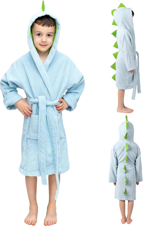 Dinosaur Robe - 1-12 Years - 100% Turkish Cotton, Bathrobe for Boys, Kids Robes: Clothing, Shoes & Jewelry