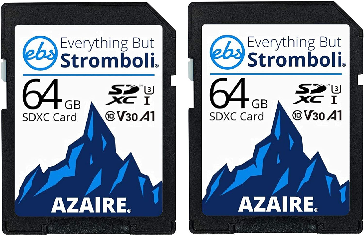 Everything But Stromboli 64GB SD Card (2 Pack) Speed Class 10 UHS-1 U3 V30 64G SDXC Memory Cards Multipack for Compatible Camera, Laptop, Video Cam