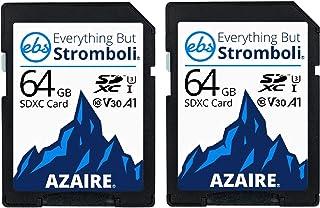 بطاقة ذاكرة بسعة 64 جيجا بايت من نوع إيفريثينغ بل سترومبولي (قطعتان)، بطاقات ذاكرة فئة السرعة 10 UHS-1 U3 V30 64G SDXC متع...