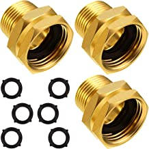 3 Packs 3/4 Inch GHT Female to NPT Male Connector, GHT to NPT Adapter Brass Garden Hose Connector Adapter Fitting to Pipe Fittings Connect with 6 Packs Extra Rubber Washer (1/2 Inch NPT Male)