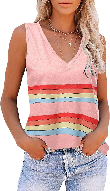FABIURT Shirts for Women, Womens Fashion Tank Tops Stripe Printed V Neck Sleeveless Vest T Shirts Casual Comfy Tunic Blouses