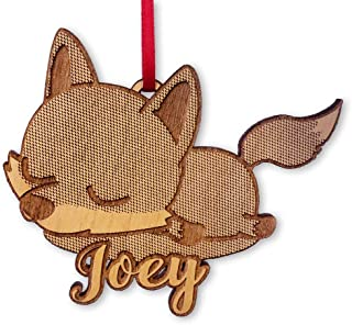 Custom-Ornaments-by-Stocking-Factory Sleeping Fox Baby's First Ornament Kids Birthday Party Gift for Son Rustic Holiday Engraved Gift for Christmas Tree