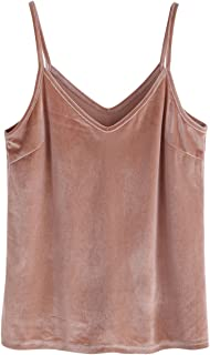 3de6eae33ccd25 SheIn Women s Casual Basic Strappy Velvet V Neck Cami Tank Top