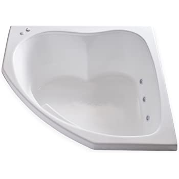 """Carver Tubs - SKC5555-6 Jet Whirlpool - 55""""L x 55""""W x 18.5""""H - White Drop In Corner Two Person Bathtub - Left Hand Motor"""