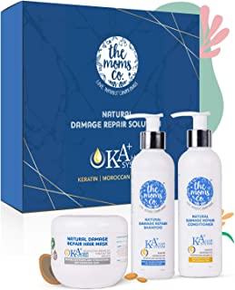 The Moms Co. Natural Damage Repair KA+ Hair System for dry & damaged hair with keratin Shampoo,Conditioner & Mask