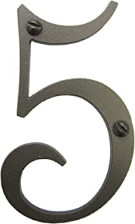 Classic Smooth Spanish Style Address Number 5 (Bronze)