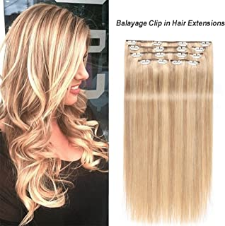 Showjarlly Remy Clip in Hair Extensions Human Hair Balayage Clip in Hair Extensions 110g Straight Full Head Clip in Hair #P10/22 (20inch)