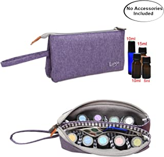Luxja Essential Oil Carrying Bag - Holds 9 Bottles (5ml-15ml, Also Fits for Roller Bottles), Portable Organizer for Essential Oil and Small Accessories, Purple