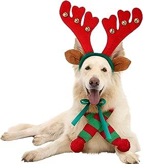 JPB Reindeer Antlers Headband for Dog and Christmas Doggie Scarf Set