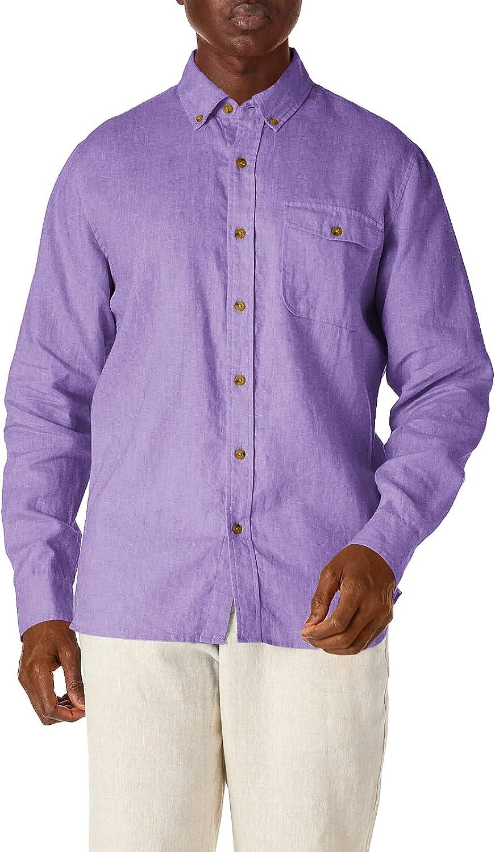 Isle Bay Linens Men's 100% Linen Long Sleeve Button-Down Collar Casual Woven Shirt