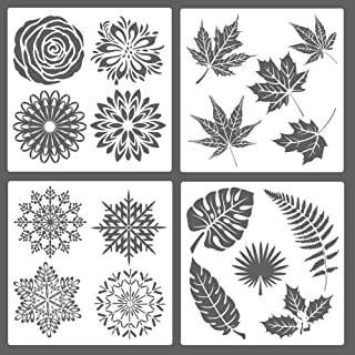 SAKOLLA Leaf Painting Stencils, 4 Pcs Reusable Mandala Tropical Leaves Mylar Template for Home Decor, Crafting, DIY Albums, Scrapbook, Printing, Floor, Wall, Tile, Fabric, Wood, 12 x 12 inches