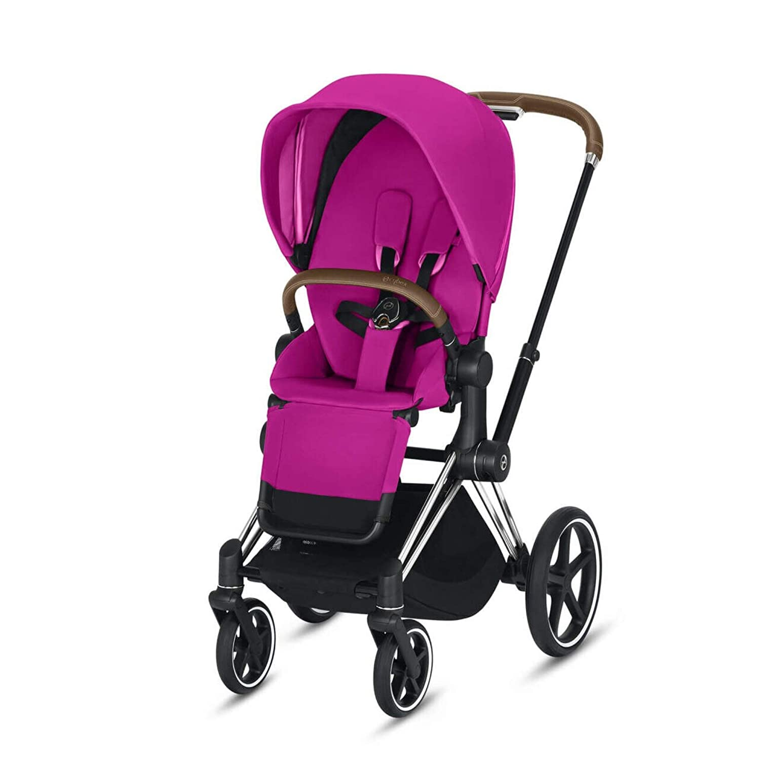 Cybex Priam 3 Complete Stroller, One-Hand Compact Fold, Reversible Seat, Smooth Ride All-Wheel Suspension, Extra Storage, Adjustable Leg Rest, Fancy Pink with Chrome/Brown Frame