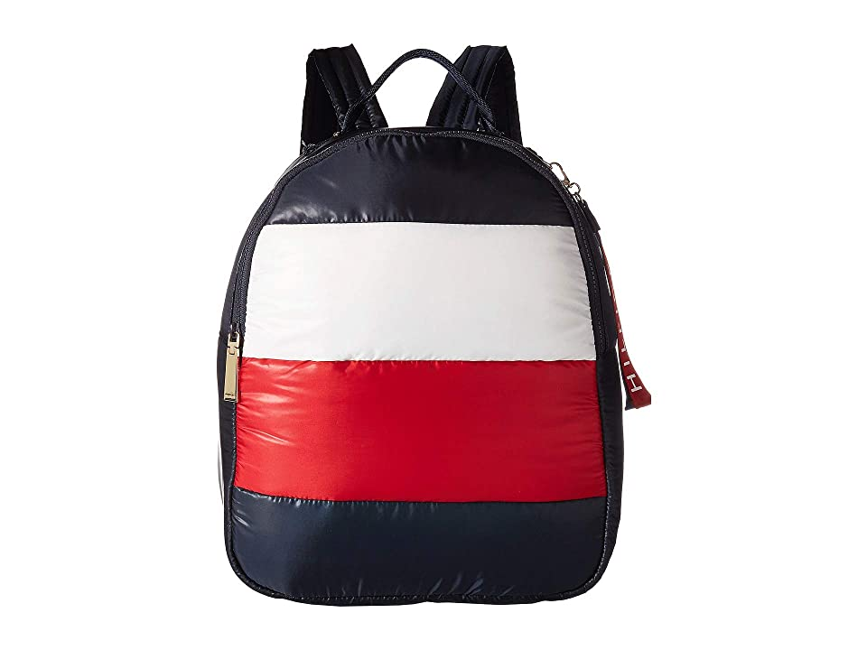 Tommy Hilfiger Ames Puffy Corp Color Block Backpack (Navy/Red/White) Backpack Bags
