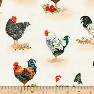 Robert Kaufman Down On The Farm Chickens Country, Fabric by the Yard