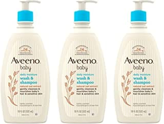 Sponsored Ad - Aveeno Baby Daily Moisture Lotion for Delicate Skin with Natural Colloidal Oatmeal -(Wash & Shampoo Pack of 3)
