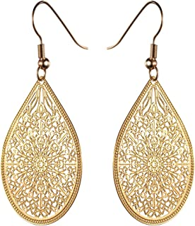 KIVN Fashion Jewelry BOHO Smooth Dangle Drop Filigree Womens Girls Bridal Wedding Earrings
