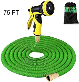 Supmovo Garden Hose, 75ft Expandable Garden Hose, Double Latex Core Expandble Water Hose with 3/4 Solid Brass Fittings, Flexible Garden Hose with 9 Function Spray Nozzle (75)