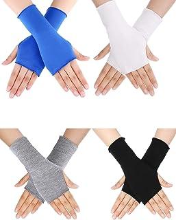 Outdoor Regenbogen gestreift Langarm fingerlose warme Sonnencreme Arm-Handschuhe