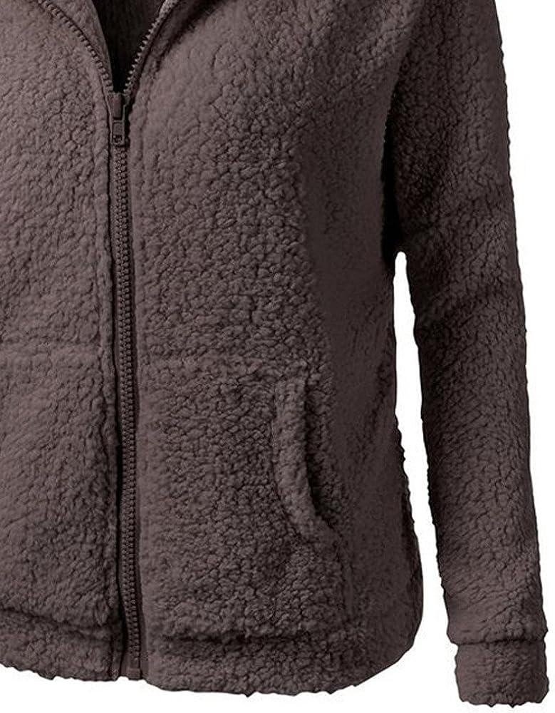 CICIYONER Baumwollmantel Frauen Kapuzenpullover Mantel Winter Warme Wolle Reißverschluss Mantel Outwear Kaffee_6312