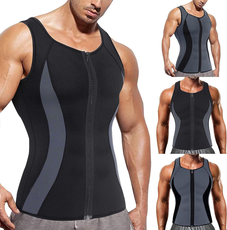 Yhjh Men's Sweat Zipper Spandex Vest Show Muscle Weight Loss Wai