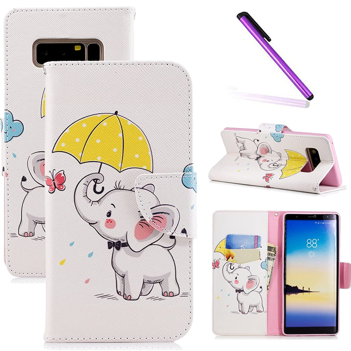 LEECOCO Samsung Note 8 Case Fancy Printing Floral Wallet Case Card Cash Holder Slots PU Leather Folio Flip Kickstand Protective Slim Case Cover Samsung Galaxy Note 8 Umbrella Dumbo BF