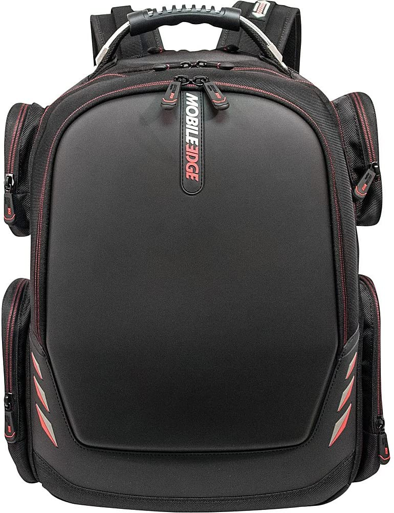 Mobile Edge Core Gaming Laptop Backpack, Molded Front Panel, 17 - 18 Inch, External USB 3.0 Quick-Charge Port and Built-in Charging Cable ScanFast TSA Checkpoint Friendly Black w/Red Trim MECGBP1