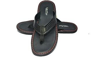 Lee Fox Men Casual Leather Slipper Black