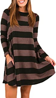 Women's Casual Loose Long Sleeve Plaid T Shirt Dress with Pockets