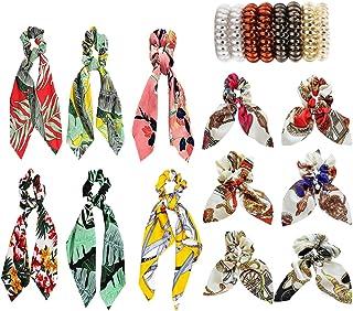 20 PCS Hair Scrunchies Satin Silk Elastic Hair Bands Hair Bow Scarf Ribbon Spiral Hair Ties Ropes Ponytail Holder Scrunchy Ties Accessories for Women Girls