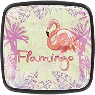 Illustration de Flamant Rose isolée Boutons D'armoire 4 Pcs Poignés Poignée De Champignons Boutons D'aluminium Porte Poign...