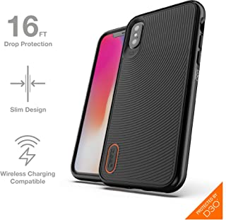 GEAR4 Battersea Hardback Case with Advanced Impact Protection [ Protected by D3O ], Glass Back Protection, Slim, Tough Design for iPhone X/XS – Black