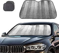 Big Ant Windshield Sun Shade + Bonus Car Window Sun Shade -Best Car Sun Shade to Keeps Vehicle Cool-UV Ray Protector Sunshade Fit for Cars SUV Trucks Minivans(55.1 x 27.5 inches)