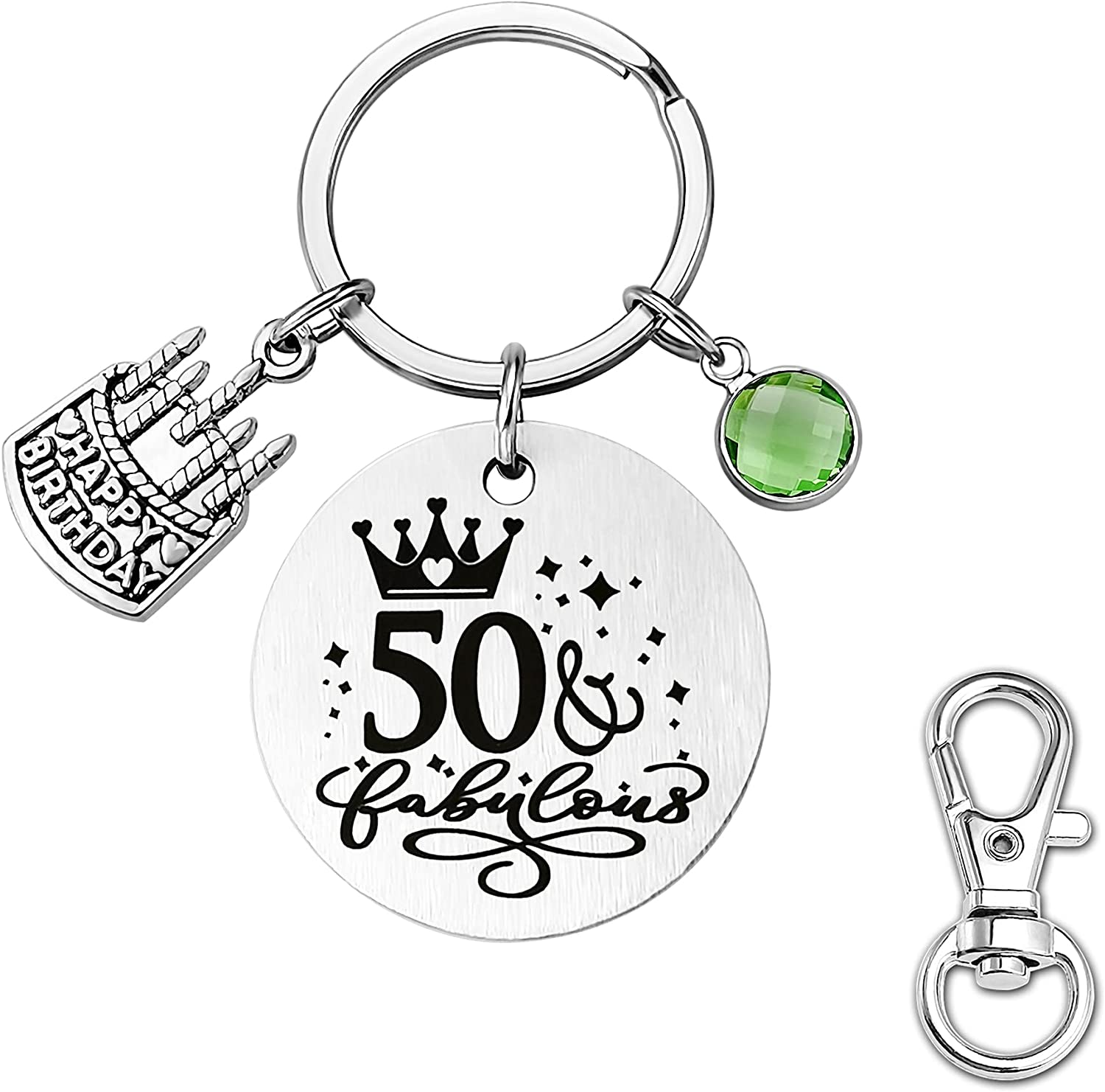 POWER WING 50th Birthday Gifts for Women Funny Keychain 50 & Fabulous Key Chain with Jan-Dec Birthstone