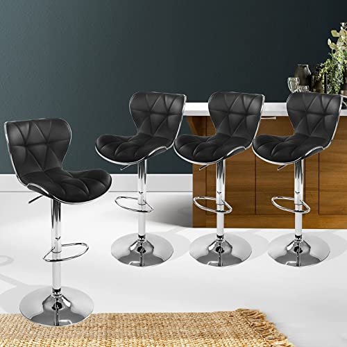 Artiss 4 Pcs Bar Stools, Tufted Leather Foam Counter Stools with Back, Metal Gas Lift Bar Chairs for Home Kitchen Din...