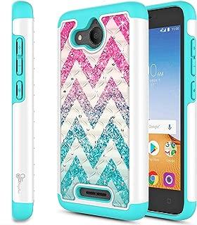 Alcatel Tetra Case, NageBee Glitter Diamond Shiny Sparkle Studded Rhinestone Bling Cover Silicone Design Girly Cute Case -Wave