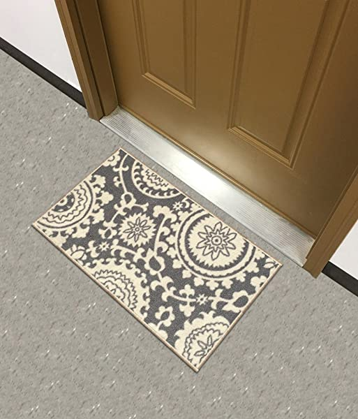 Kapaqua Rubber Backed Mat 18 X 32 Floral Swirl Medallion Grey Ivory Doormat Accent Non Slip Rug Rana Collection Kitchen Dining Living Hallway Bathroom Pet Entry Rugs RAN2033 12