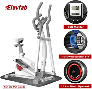 Elevtab Elliptical Machine Trainer - Adjustable 8 Levels Resistance with Seats, Digital Monitor and Pulse Rate Grips Magnetic Smooth Quiet Driven Elliptical Exercise Machine for Home Gym (White)