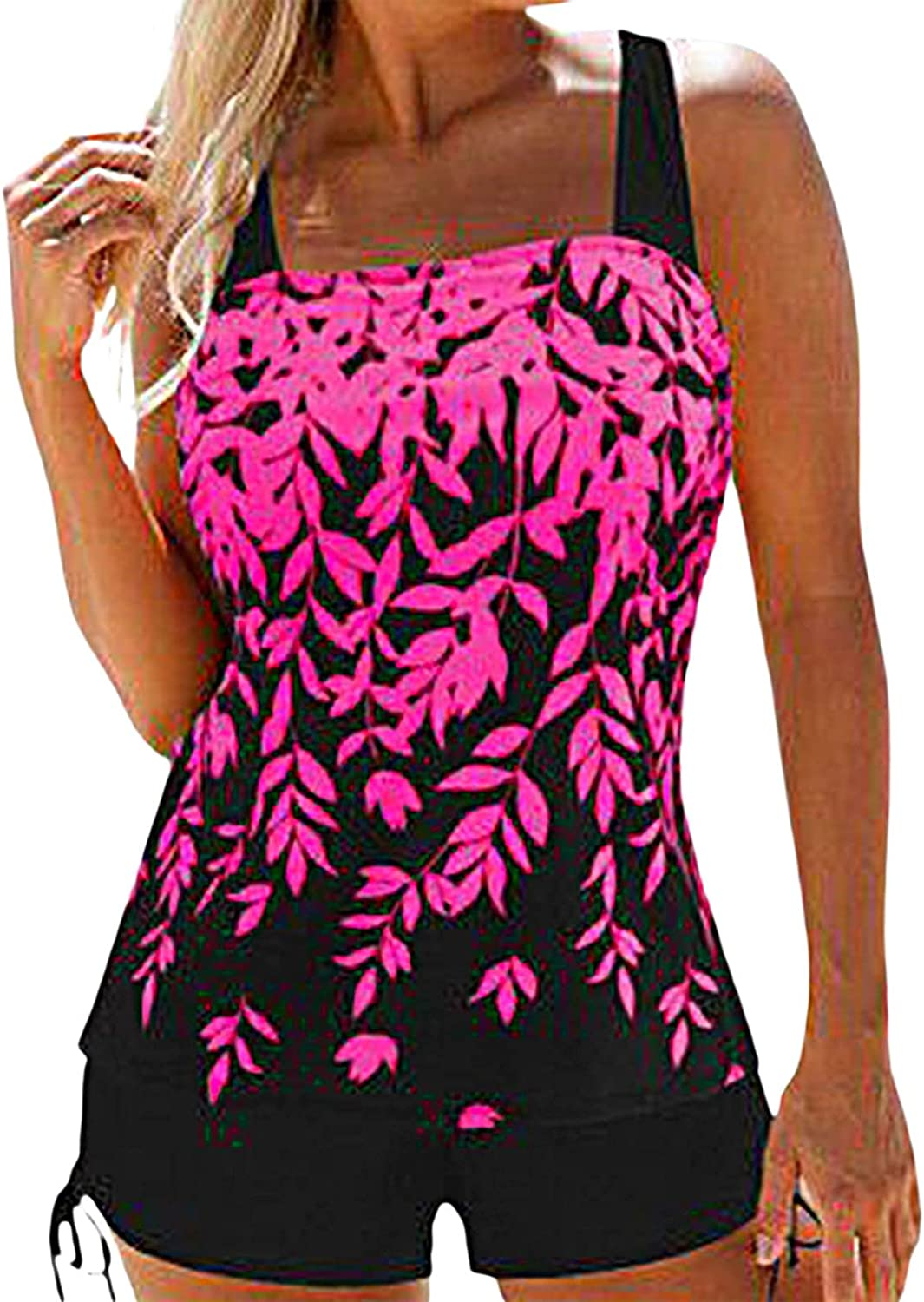 Tankini Swimsuits for Women Two Piece Tops Bathing Suits Tummy Control Swimwear Plus Size Swimsuits