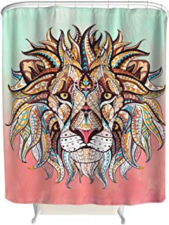 B3DHV-9 Colorful Lion Patterns Print Shower Curtain First-Class Waterproof Bath Curtains Set with Hooks - Cartoon Animal for Dorm Room White 36x72inch