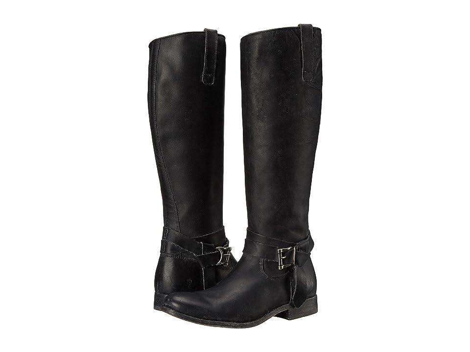 Frye Melissa Knotted Tall (Black Polished Stonewash) Cowboy Boots