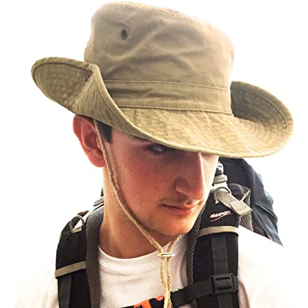 TOSKATOK® UPF 50+ Unisex Safari Outback Australian Style Cotton Bush Hat with Wide Brim, Chin Strap, Side Press Studs and Air Vents
