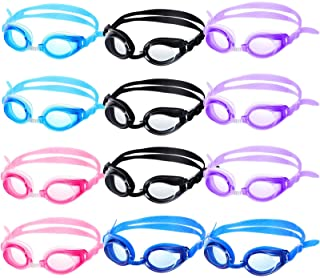 12 Pairs Kids Swimming Goggles No Leaking Swim Goggles Wide View Swim Glasses for Youth Children and Teens from 6 to 14 Ye...