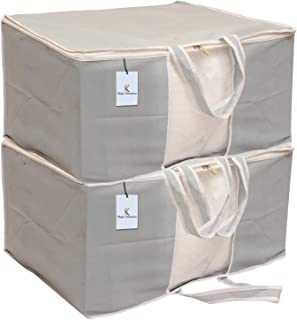 Kuber Industries 2 Piece Non Woven Front Handle Underbed Storage Organiser, X-Large, Grey