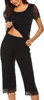 Women's Capri Pajama Set Lace Short Sleeve Sleepwear Pjs Sets with Pocket