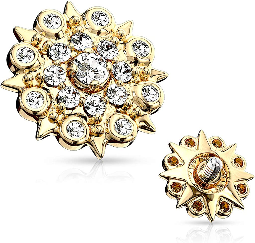 Covet Jewelry CZ Paved Floral Filigree Internal Thread Dermal Anchor Tops
