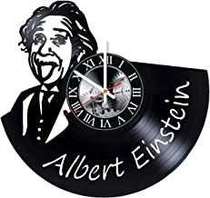 Albert Einstein Art Vinyl Record Wall Clock - Get Unique Bedroom or livingroom Wall Decor - Gift Ideas for Boys and Girls Perfect Element of The Interior Unique Modern Art
