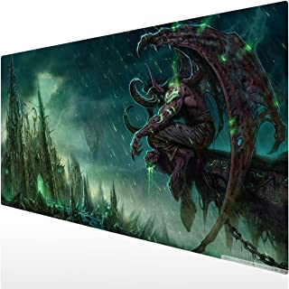 Bimor Extended Gaming Mouse Mat/Pad - Large, Wide (Long) Custom Professional Mousepad, Stitched Edges, Ideal for Desk Cover, Computer Keyboard, PC and Laptop (90x40 Illidan Stormrage14)