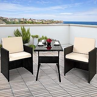 Deuba Conjunto de muebles para balcón Cube de Poliratán 1 mesa 2 sillas 4 cojines compacto Negro jardín terraza patio