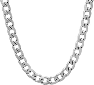 Men's 7mm Thick Stainless Steel Cuban Curb Link Chain Necklace, 18
